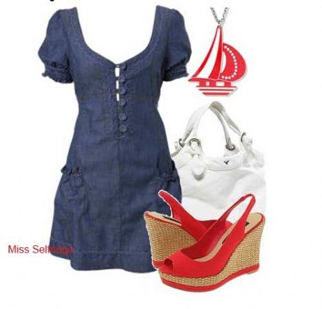 Kısa kollu kot mini elbisenizle, dolgu topuk kırmızı ayakkabınız ve beyaz çantanız ile günlük bir şıklık yaratabilirsiniz
